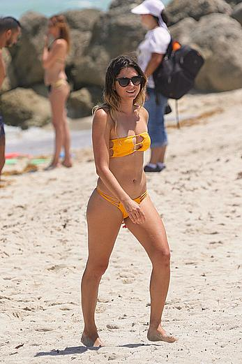 Anastasia Ashley seen in yellow bikini at the beach in Miami