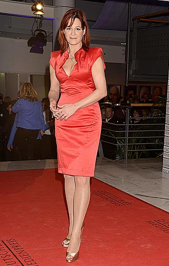 Andrea Berg cleavage in red dress at German Media Prize in Baden Baden