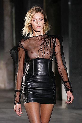 Anja Rubik in see through top and leather skirt at Saint Laurent SpringSummer 2017