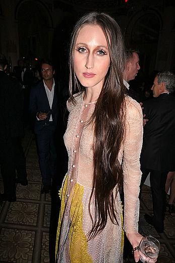 Anna Cleveland in a see through dress at Harper's Bazaar Icons party