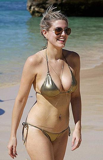 Ashley James cleavaeg in gold bikini in Bali