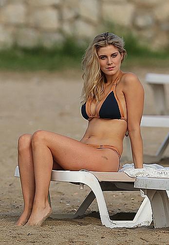 Ashley James in bikini at the beach in Ibiza