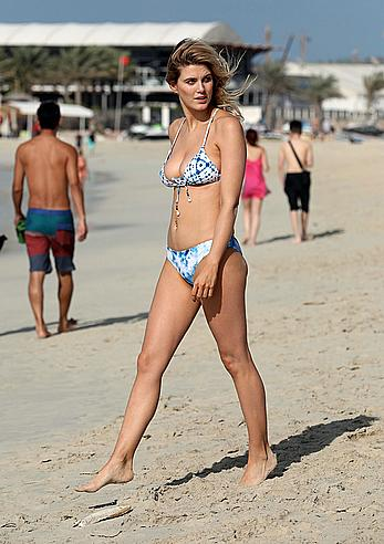 Ashley James sexy in bikini on a beach in Dubai