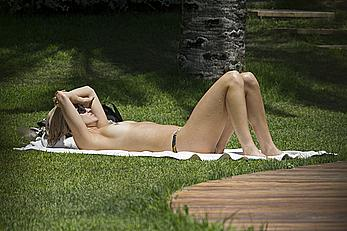 Ashley Roberts sunbathing topless in Ibiza