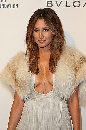 Ashley Tisdale sexy cleavage at 24th Annual Elton John AIDS Foundation's Oscar Viewing Party