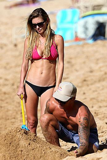 Audrina Patridge wearing a bikini at a beach in Hawaii