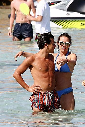 Aurora Ramazotti enjoys a holiday in blue bikini in Formentera