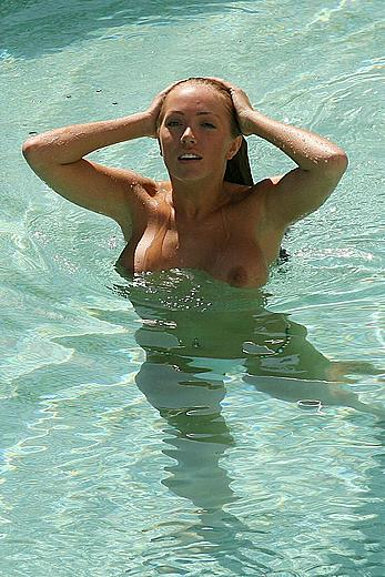 Aisleyne Horgan-Wallace topless in a pool