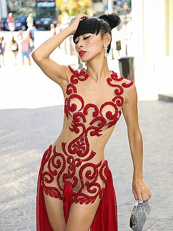 Bai Ling celebrating her 49th birthday in see through dress