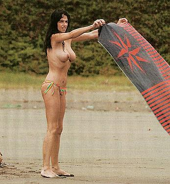 Beatriz Rico topless on a beach paparazzi photos