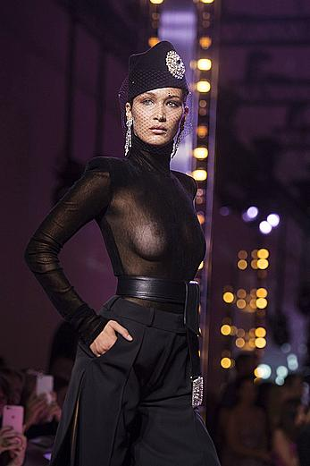 Bella Hadid in see through top at Alexandre Vauthier show in Paris