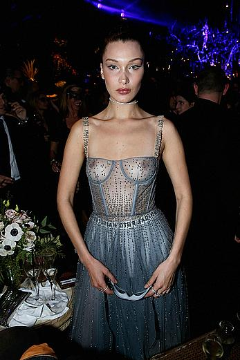Bella Hadid in see through dress at Dior Ball in Paris