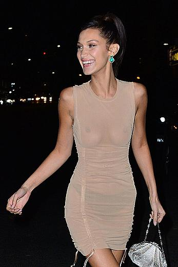 Bella Hadid braless in see through dress Leaving the Victoria's Secret Fashion Show After-Party