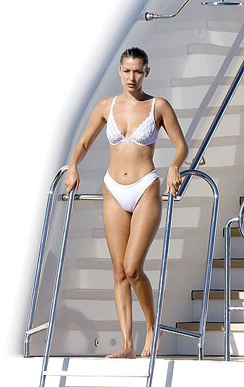 Bella Hadid in white bikini on a yacht in Cannes