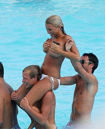 Billie Faiers topless on a beach with friends