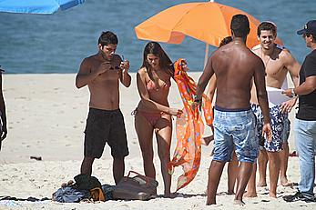 Bruna Marquezine in bikini on the beach during a shoot in Rio de Janeiro