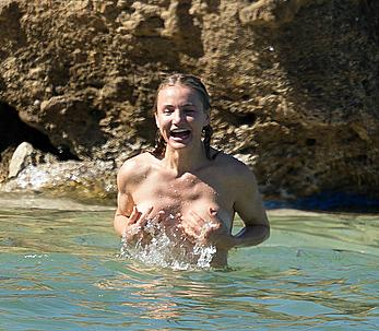 Cameron Diaz caught topless on the beach in the Caribbean