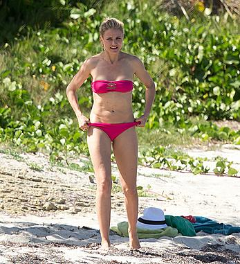 Cameron Diaz in pink bikini in the Caribbean