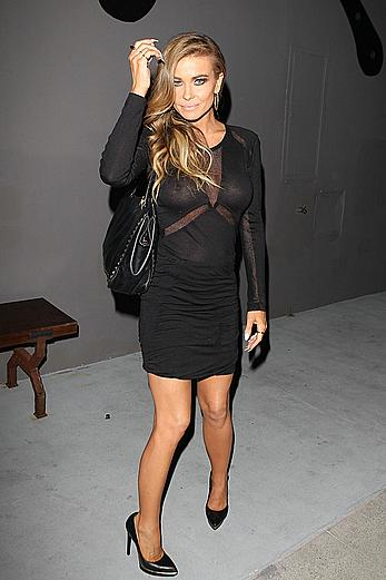Carmen Electra braless under semi-transparent dress at Crossroads Restaurant in West Hollywood