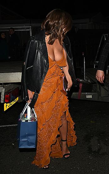 Caroline Flack nipple slip in a cab at Glamour Women Of The Year Awards in London