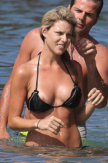 Carrie Prejean nipple slip in Hawaii paparazzi photos