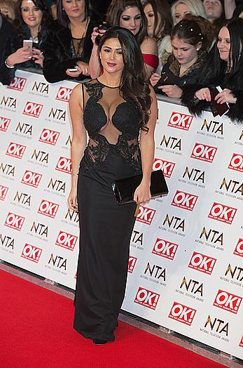 Busty Casey Batchelor deep cleavage at National Television Awards in London