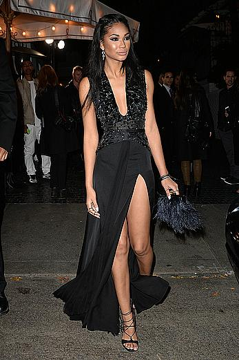 Chanel Iman sexy legs at the W Magazine Golden Globe party