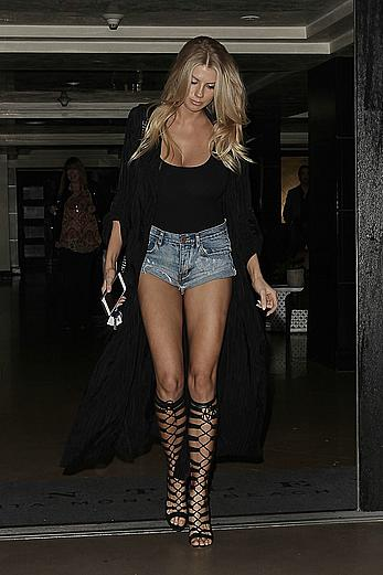 Charlotte McKinney long sexy legs leaving a restaurant in Santa Monica