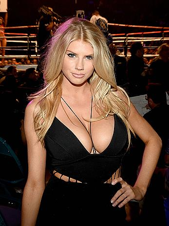 Busty Charlotte Mckinney deep cleavage at the Mayweather VS Pacquiao in Vegas