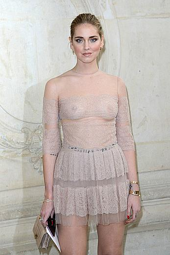Chiara Ferragni in see through dress during the Paris fashion week