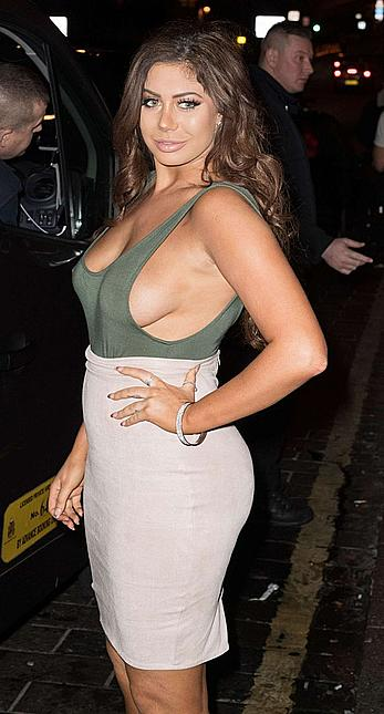 Busty Chloe Ferry see through and sideboob in London