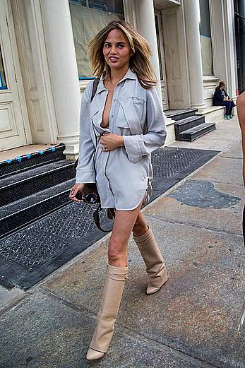 Chrissy Teigen out and about in NY, shows legs and cleavage