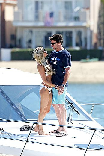 Christina El Moussa in bikini on a boat in Newport