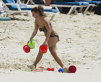 Coleen Rooney seen on the beach while in Barbados