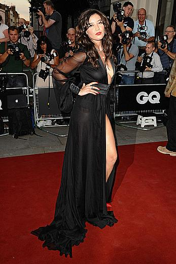 Busty Daisy Lowe shows hard nipples under semi-transparent dress at The GQ Men of the Year Awards