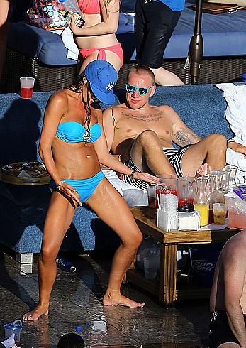 Danielle Lloyd seen pool side with friends in Las Vegas