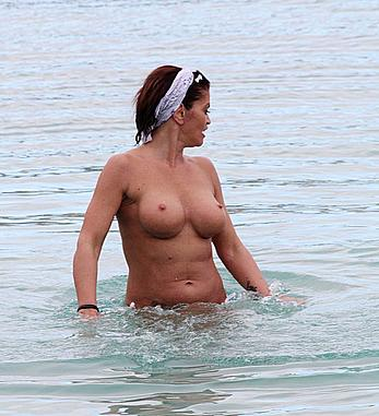 Danniella Westbrook topless on a beach in Spain