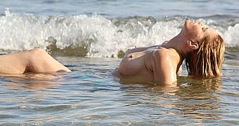 Danniella Westbrook topless in the sea in Spain