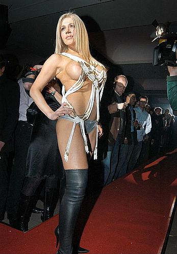 Busty Davorka Tovilo posing almost topless at red carpet