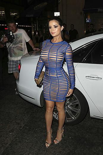 Demi Rose in tight see through dress attends the Sixty Six magazine Launch party