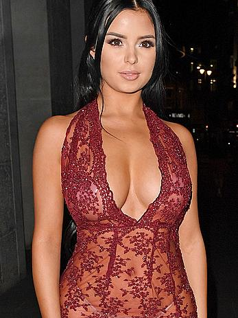 Demi Rose arrives in a see thru dress at the Sixty6 Magazine launch party