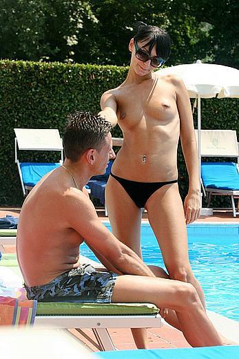 Diana Kleimenova topless poolside paparazzi images