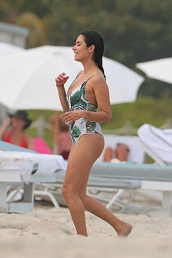 Diane Guerrero wears a swimsuit at the beach in Miami