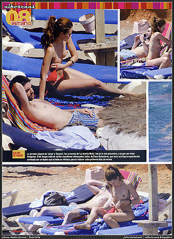 Elena Ballesteros sunbathing topless on a beach
