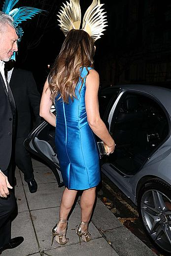Elizabeth Hurley cleavage in blue dress