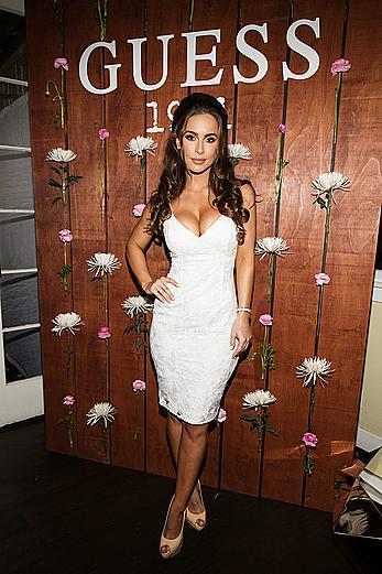 Ellie Gonsalves sexy cleavage at GUESS 1981 Fragrance launch