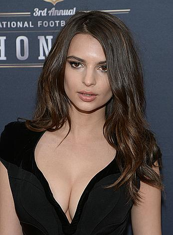 Emily Ratajkowski deep cleavage in black dress