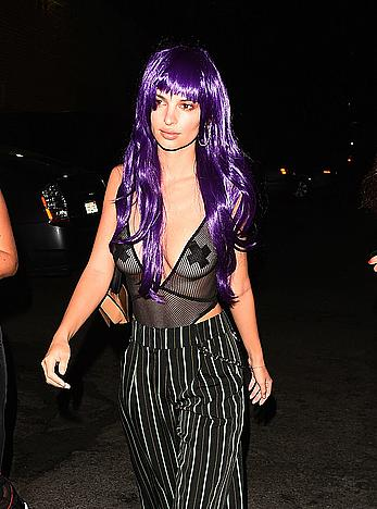 Emily Ratajkowski in a see through bodysuit with pasties at Halloween party