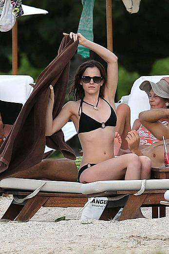 Emma Watson on the beach in the Caribbean