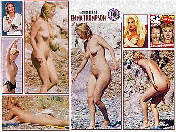 Emma Thompson nude tits and hairy pussy paparazzi pics